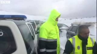 BBC News   British tourists trapped in snow in northern Spain
