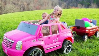 Driving Barbie Power Wheels Ride on Car & Giant Surprise Egg Hunt W/ American Girl Bitty Baby