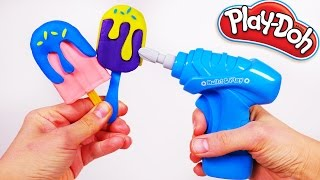 Play Doh Ice Cream Popsicles and a Drill Destroying the Yummy Ice Cream