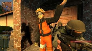 Counter Strike Source Zombie Escape mod online gameplay on Naruto map