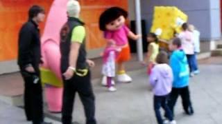 Spongebob Squarepants falls over at  Blackpool Pleasure Beach