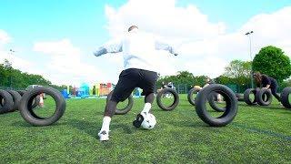 INSANE FOOTBALL WIPEOUT CHALLENGE!! ⚽️💥