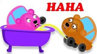 Gummy Bear Car needs to PEE on bear car BATHTUB! finger family rhymes for kids | Toys fun
