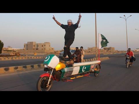 Pakistani Cop Performs Stunts On Bike