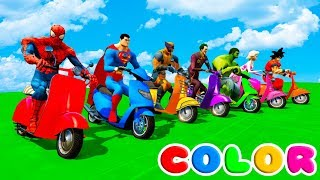FUN LEARN COLORS SCOOTER w/ SUPERHEROES 3D Animation Cartoon for Children
