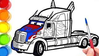 Cara Menggambar Dan Mewarni Transformers OPTIMUS HAULER In CARS 4 . Drawing Coloring For Kids