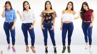 5 Outfits Casuales y Comodos Con 1 Pantalon 👖 Atuendos Con Jeans 🦄 Bessy Dressy