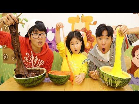 보람이와 � �난 또치 초거대 수박 슬라임 만들기 놀이 Boram giant watermelon slime kids toys play