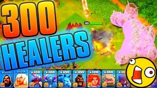 Clash of Clans 300 HEALERS BARB KING + 300 FREEZE !!