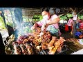 Thai Street Food - EXTREME BBQ MEAT TOUR in Chiang Mai, Northern Thailand   Thai Sausage and Laap!