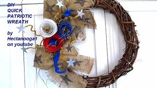 DIY PATRIOTIC WREATH, Home decor, 4th of July wreath, Burlap door hanger, rolled flowers,