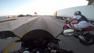 Yamaha R6 vs BMW S1000RR on the highway + COPS + Close Calls!