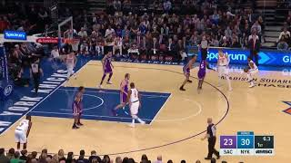 Frank Ntilikina and Kristaps Porzingis run the pick and roll to perfection