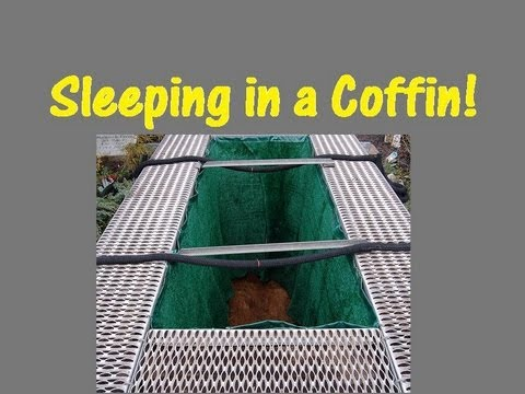 Sleeping in a Japanese coffin!