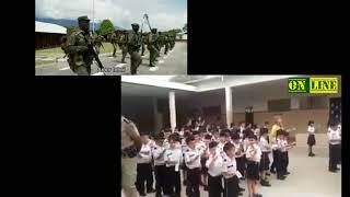 Alunos cantando a canção do Exército Brasileiro , até arrepia de ouvir essa canção...