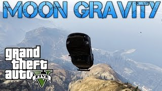Grand Theft Auto V | FUN WITH MOON GRAVITY | MAKING CARS FLY!