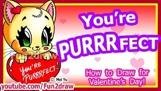 How To Draw A Heart Cat For Love Valentines Cute Easy Art Tutorial