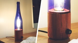 Wood & Bottle Lamp - First Lathe Project