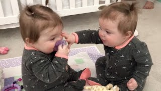 Funniest TWIN Baby Girls Share A Pacifier