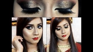 Bangladeshi/Indian wedding makeup || Red,Golden,Glittery smokey eye makeup