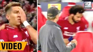 Mohamed Salah Angrily Throws Bottle After Firmino Scores A Goal For Liverpool