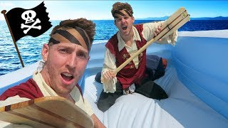 PIRATE SHIP RAFT ON A LAKE!