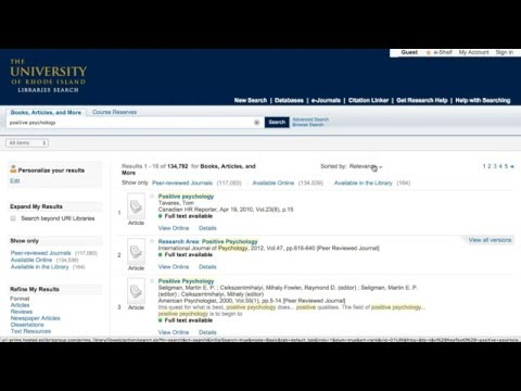 Getting Started with the URI Libraries Search