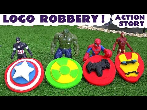 Spiderman and Avengers Logo Robbery Play Doh Thomas & Friends Story Ultron Hulk & Iron Man