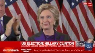 سخرانی هیلاری کلینتون بعد از شکست در انتخابات ریاست جمهوری آمریکا، پخش زنده