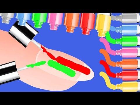 Видео для детей сюрприз. Играем красим ногти лаком для ногтей и весело изучаем цвета.