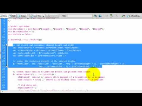 Image Slide Show with jQuery Transitions - Lesson 2