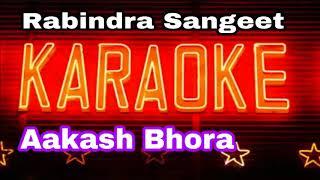 Aakash Bhora | আকাশ ভরা | Bangla Song Karaoke | Rabindra Sangeet | Krishna Music