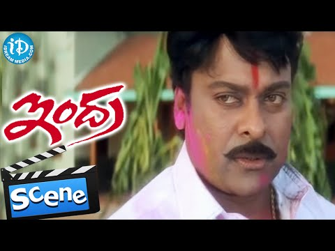 Indra Movie Scenes - Chiranjeevi Playing Holi || Sonali Bendre || Arthi Agarwal || B Gopal