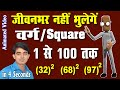 SQUARE TRICKS 1 TO 100 (IN HINDI)/Square of Any Two Digit Number Very Fast/jaytechfun
