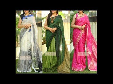 Latest Linen Sarees Online Shopping | Linen Sarees 100 count | DL