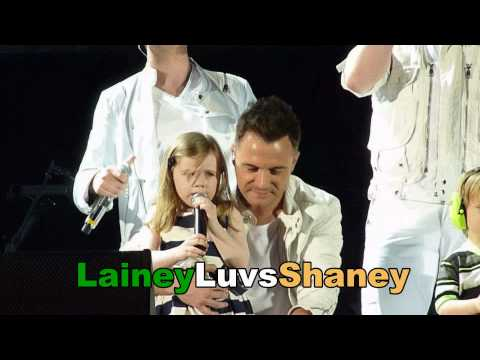 Westlife Croke Park 2010 Kids on stage Nicole Patrick and baby Shane Filan & Rocco and Jay Byrne