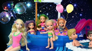 Elsa and Anna Pool Party # 2 Toddlers Anna and Elsa Swim Play Disco Barbie Frozen TV Toys In Action