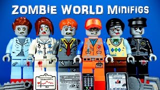 The LEGO Movie Zombie World KnockOff Minifigures with Emmet Nurse Police Manager