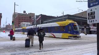 LightRail in the Twin Cities: Minneapolis and St. Paul Minnesota During Snowstorm 2018