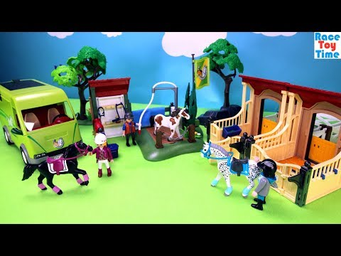 Playmobil Horse Stable Barn and Washing Station Building Sets Fun Toys Video For Kids