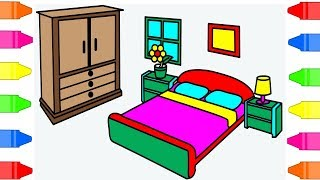 How To Draw Bedroom Coloring Pages For Kids – Drawing Bed Art For Children To Learn Colors