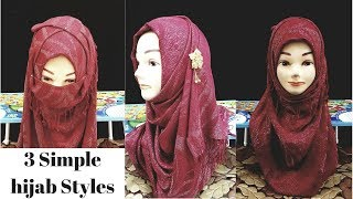 3 Simple hijab styles with Naqaab for beginners without inner cap | Hijab styles with less pins