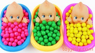 Learn Colors Bubblegum Triple Baby Dolls Bath Time Nursery Rhymes Kinder Surprise Eggs Kids Toys