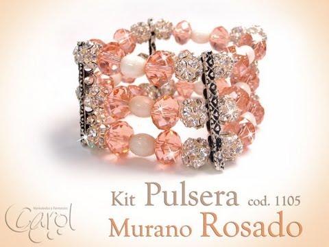 KIT 1105 Kit pulsera murano rosado x und