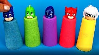 PJ Masks Kinetic Sand Molds Catboy, Owlette, Gekko Surprise Toys PJ Masks Garage Cars for Kids