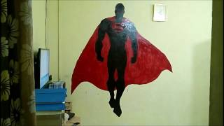 How to Paint Superman Mural Painting On WALL,,  The Making