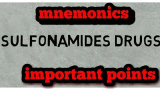 Sulfonamides drugs #quick review # easy tricks