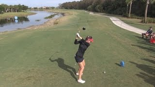 GOLF SWING 2012 - SANDRA GAL DRIVER - ELEVATED DOWN THE LINE & SLOW MOTION - HQ 1080p HD