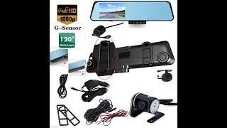 "4.3"" HD 1080P Car Dual Lens Rearview Mirror DVR Camera Dash Cam Recorder Monitor"