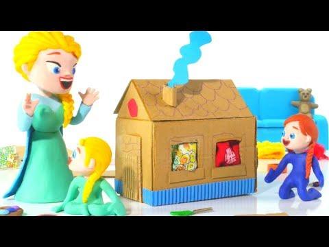 FROZEN ELSA & ANNA BUILD A TOY HOUSE ❤ Spiderman Hulk & Frozen Play Doh Cartoons For Kids